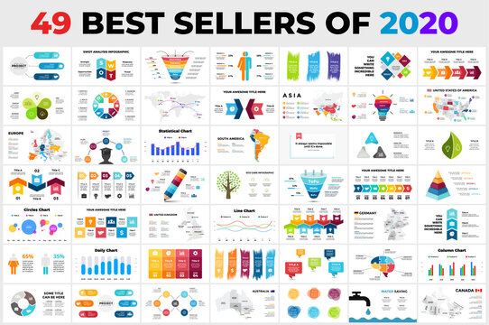 49 Best-Selling Vector Infographics of 2020. Presentation slide templates. Circle diagram charts. Arrows timelines. Maps. Perfect for marketing or business, ecology and education.