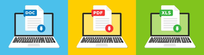 Document file icons. Doc, Pdf, Xls flat icon. Vector illustration.