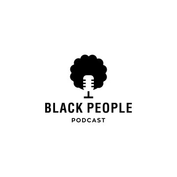 black people head with afro hair podcast logo icon vector with microphone in negative space style modern illustration. vector illustration logo for radio
