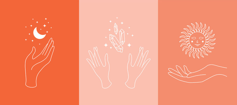 Mystic boho doodle set. Magic simple line logo icons with hands, crystals, moon, sun, stars. Bohemian posters, modern vector illustration