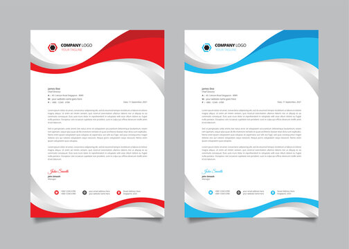 Stylish business letterhead template. Letterhead design with wavy red and blue shape.
