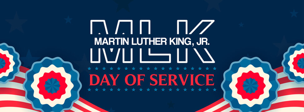 Martin Luther King Jr. Day Of Service Banner Vector illustration. Happy MLK Day