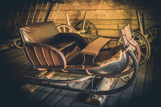 Santa Claus Winter Snow Sleigh. Old wooden sled