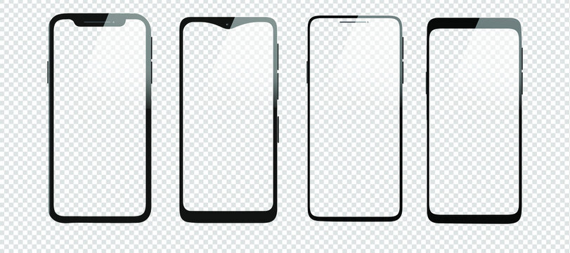 Realistic smartphone models with transparent screens and background. Vector phone icon mockup collection. 3D mobile phones isolated without screen. New digital phone technology. iPhone mockup.