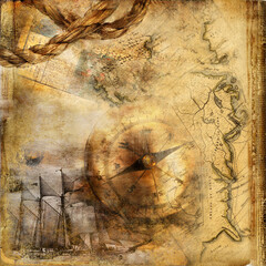 Vintage paper background in adventure stories style with old compas and place for photo or text