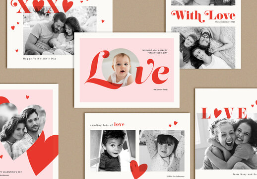 Valentine's Day Photo Greeting Card Layouts