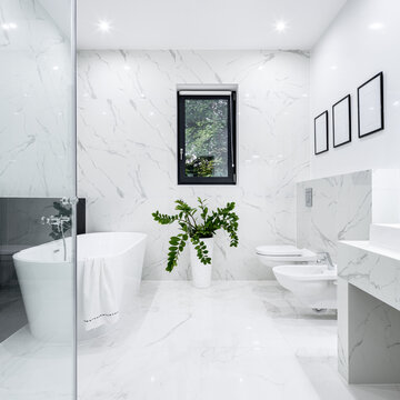 Black and white bathroom with window