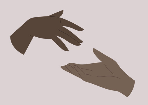Two hands reaching out to each other, human relationships, black people community support, love and friendship