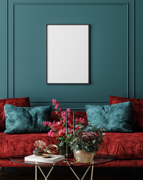 Mockup frame in dark green home interior with red sofa, table and decor, 3d render