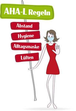 Corona   Covid-19: AHA-L Regeln auf Schildern. Abstand - Hygiene - Alltagsmaske - Lüften