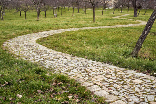 Stone pathway in a park