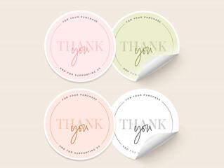 Obraz Set of 4 Color Thank You Stickers - fototapety do salonu