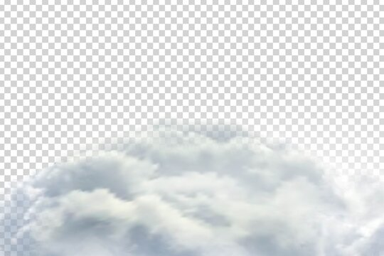 Vector realistic isolated cloud sky for template decoration and covering on the transparent background. Concept of storm and cloudscape.