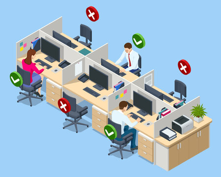 Isometric social distancing poster for meeting room in office. Safety awareness of covid-19 virus. Social distance maintain at workstation desk.