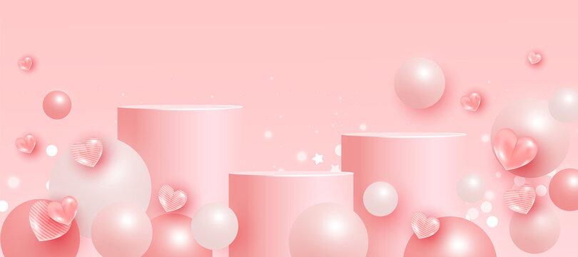 Trendy mock up scene with podium or platform, flying ball geometric shapes on pink background. Minimal scene with geometrical forms for product presentation. Vector illustration