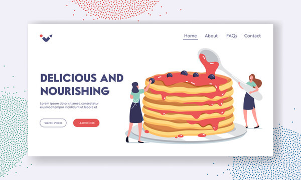 Morning Food, Culinary Landing Page Template. Tiny Female Characters Pouring Huge Stack of Fresh Hot Pancakes with Syrup