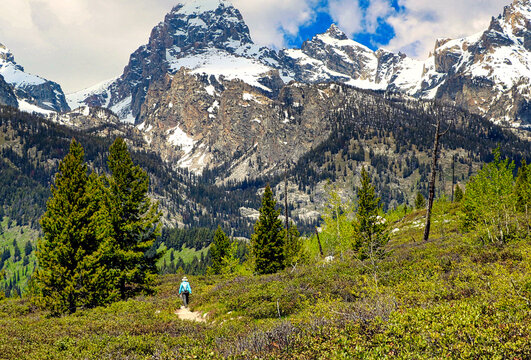 Hikers in Wyoming's Grand Teton National Park are greeted with stunning mountain scenery.