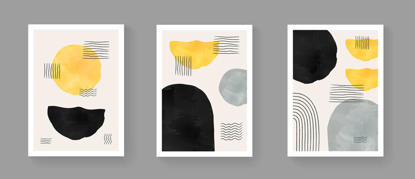 Set of abstract minimalist hand painted composition. Mid century modern artwork with watercolor shapes. Simple geometric illustration for Posters, Postcards, Brochures, Wall Art, Banners.