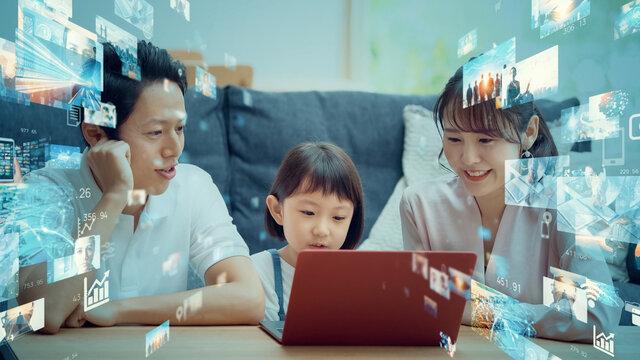 映像コンテンツ 動画配信サービスを見る親子