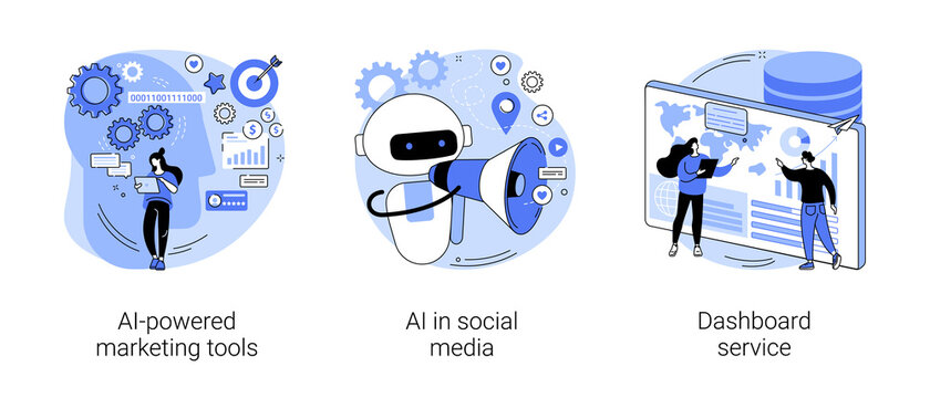 Artificial intelligence for business abstract concept vector illustration set. AI-powered marketing tool, AI in social media, dashboard service, machine learning, target advertising abstract metaphor.