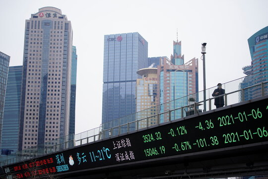 A man wearing a mask, following the coronavirus disease (COVID-19) outbreak, stands on an overpass with an electronic board showing Shanghai and Shenzhen stock indexes, at the Lujiazui financial district in Shanghai