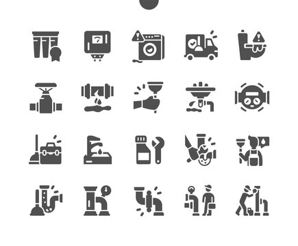 Plumbing elements. Construction of metal piping system. Toilet problems and washer machine problem. Plumber service. Vector Solid Icons. Simple Pictogram