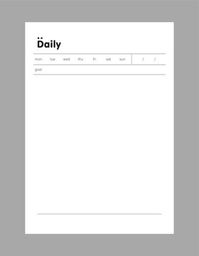 Daily, Weekly, Monthly and Check memo planner. Retro planner Bullet journal memo pad. Clear and simple printable to do list. Realistic vector illustration.