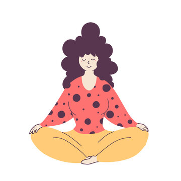 Relaxed woman sitting in lotus pose flat illustration