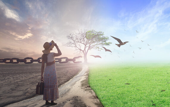 New normal concept: Woman standing between climate worsened with good atmosphere and birds