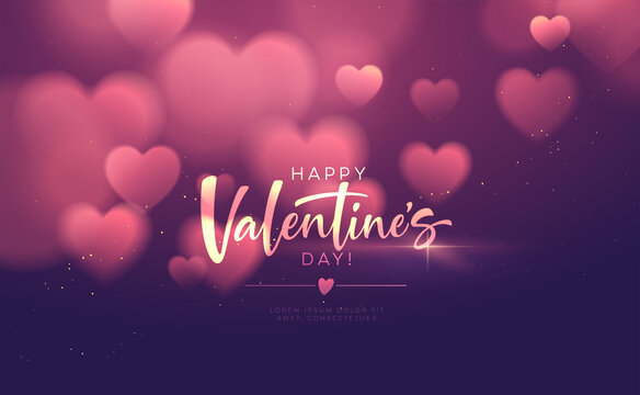 Bokeh Blurred Heart Shape Shiny Luxurious Background for Valentines Day congratulations. Handwriting lettering Happy Valentines Day. Vector illustration