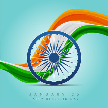 Happy Indian Republic day celebration poster or banner background. Vector illustration.