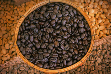 Coffee beans in basket background