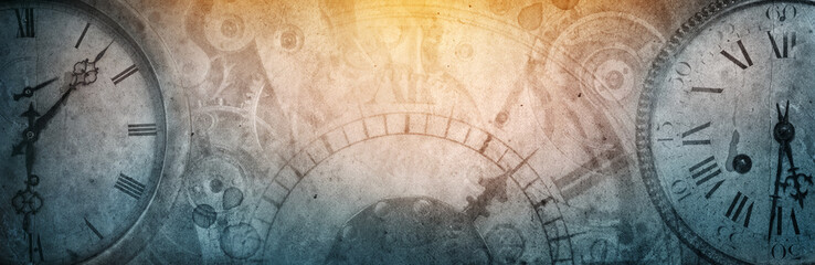 The dials of the old antique classic clocks on a vintage wide paper background. Concept of time,...