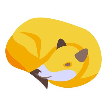 Sleeping fox icon. Isometric of sleeping fox vector icon for web design isolated on white background