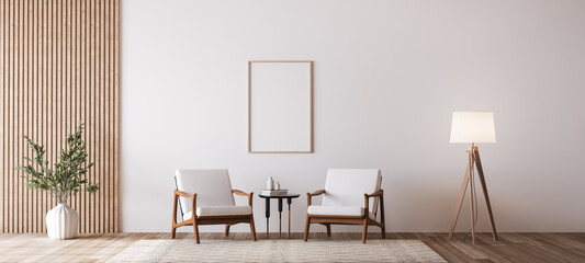 Obraz Living room design with empty frame mockup, two wooden chairs on white wall - fototapety do salonu