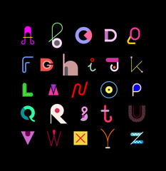 Decorative font vector design. Colored abstract font design isolated on a black background. Alphabet letters formed by abstract geometric shapes.