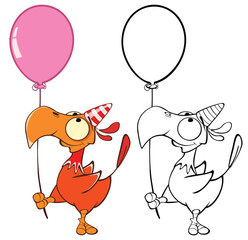 Vector Illustration of a Cute Cartoon Character Bird for you Design and Computer Game. Coloring Book