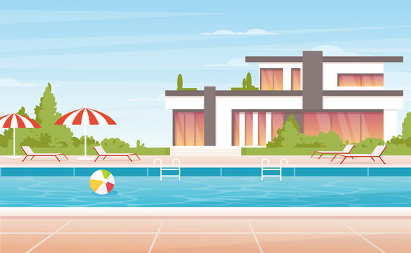 Cartoon no people luxury spa poolside with umbrella, lounge and modern mansion villa or tropical resort hotel building background. Water swimming pool summer vacation landscape.