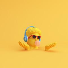 Fototapeta Minimal scene of sunglasses and headphone on human head sculpture, Music concept, 3d rendering. obraz