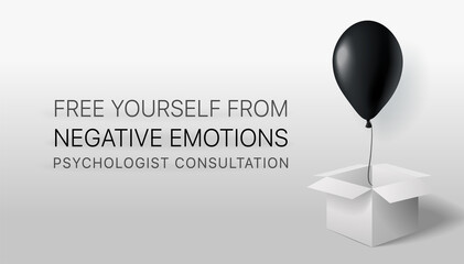 Obraz Free yourself from negative emotions. Psychological assistance and consultation. A black ball flies out of the box. Banner for a psychologist. Depression treatment - fototapety do salonu