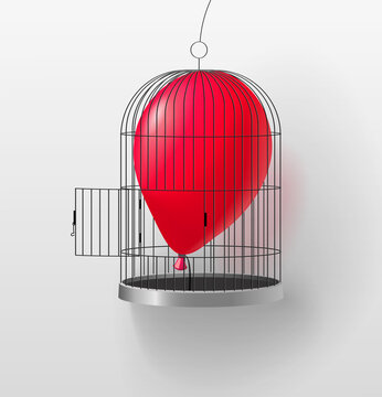 Red air balloon in a birdcage with an open flap. Vector illustration that means the disclosure of your inner strengths, talents, new opportunities and the birth of new ideas.