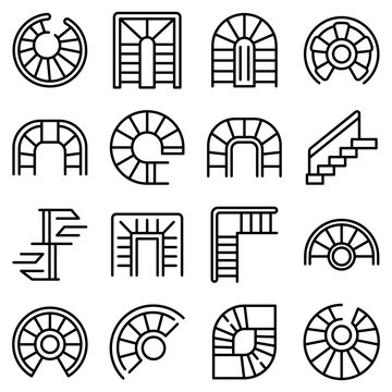 Spiral staircase icons set. Outline set of spiral staircase vector icons for web design isolated on white background