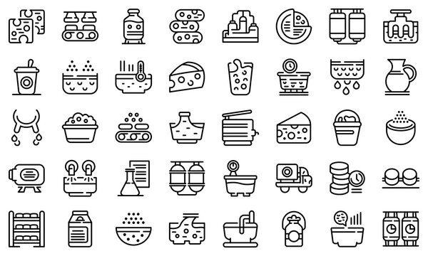 Cheese production icons set. Outline set of cheese production vector icons for web design isolated on white background