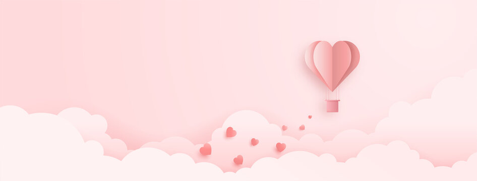 3D origami heart hot air flying with cloud background. Love concept design for happy mother's day, valentine's day, birthday day. Poster and greeting card template. vector paper art illustration.