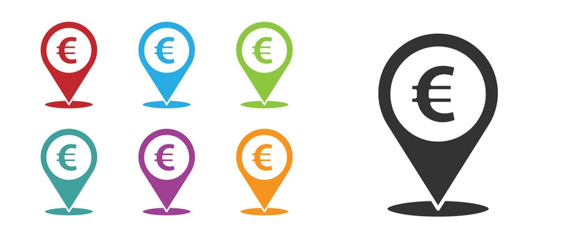 Black Cash location pin icon isolated on white background. Pointer and euro symbol. Money location. Business and investment concept. Set icons colorful. Vector Illustration.
