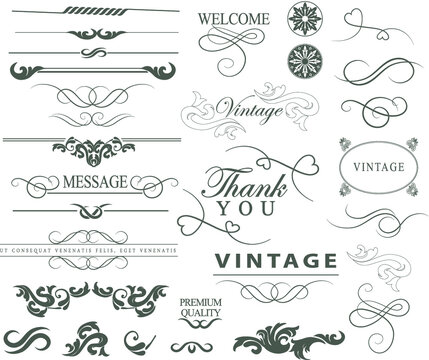 Ornate vintage design elements with calligraphy swirls, swashes, ornate motifs and scrolls. Frames and banners