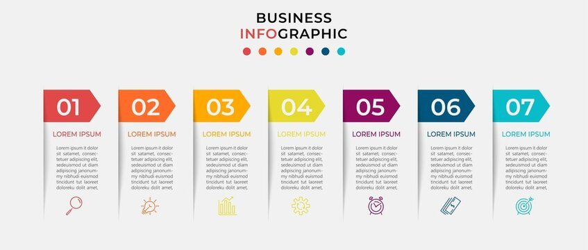 Minimal Business Infographics template. Timeline with 7 seven steps, options and marketing icons .Vector linear infographic with two circle conected elements. Can be use for presentation. Eps10 vector