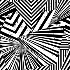 seamless abstract geometric background pattern, with triangles, lines, paint strokes and splashes, black and white