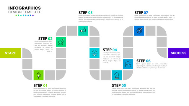 Infographic design template. Timeline concept with 7 steps