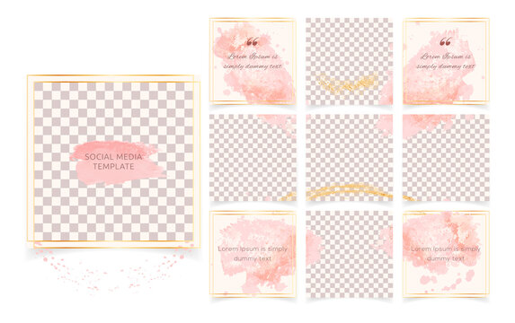 Editable abstract square instagram social media posts banners templates. Minimalist fashion background with soft pink brush strokes, golden frames. Suitable for social media posts, covers, puzzle feed